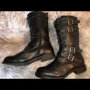 Shoes - Black Leather statement boots